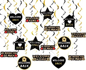 Lnlofen Welcome Home Party Hanging Swirls Decorations, 24Pcs Gold Home Welcoming Party Hanging Swirl Supplies, Homecoming Party Welcome Back Home Family Hanging Decor