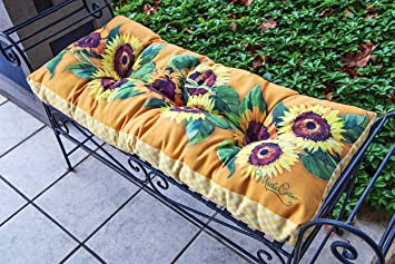 Bench Cushions   Sunflower Garden Bench Seat Cushion   Indoor Outdoor Bench  Cushion   Home Decor