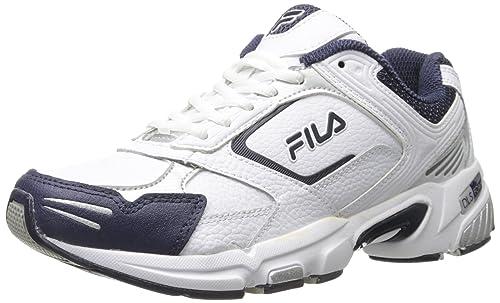 b046eae70 Fila Men's Decimus 3 Cross Trainer Shoe, White/Navy/Metallic Silver, 11
