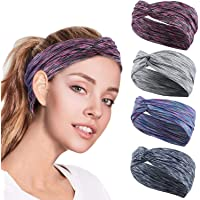 4PCS Women Workout Headband Lightweight Soft Wicking Stretchy Head Wrap Ideal for Sports/Yoga/Pilates/Dancing/Running…