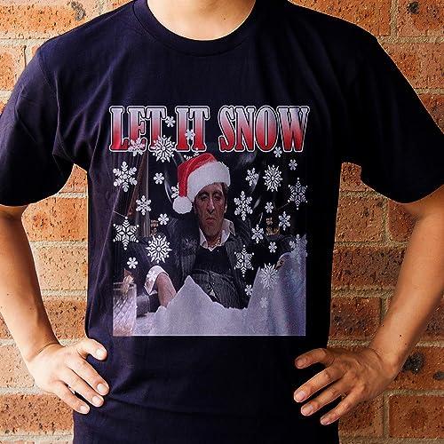 Amazoncom Scarface Tony Montana Let It Snow Xmas T Shirt Christmas