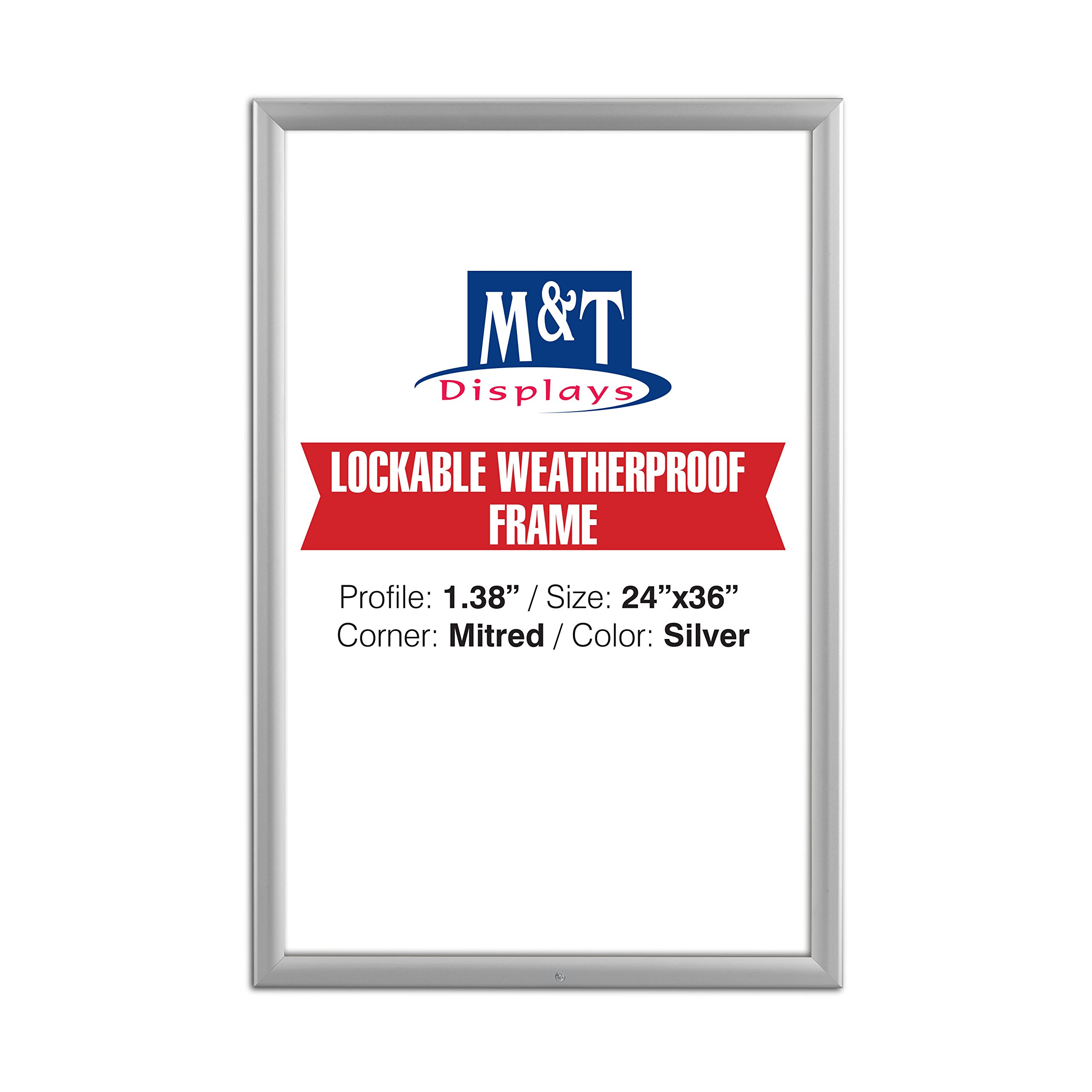 Lockable Weatherproof Frame 24'' X 36''inches Poster Size ,1.38'' Aluminium Profile, Black and Silver Color, Mitred Corner (Silver)