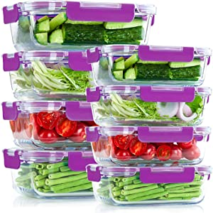 UMI UMIZILI Glass Meal Prep Containers, Set of 8, 2 Capacities [34oz, 12oz] for Food Storage, BPA-Free Lids