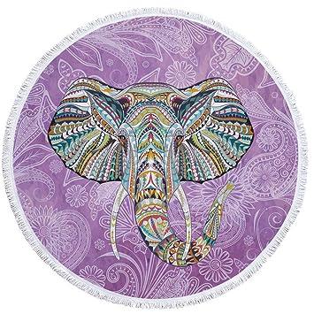Axjzh Ronda Borla Playa Toalla Elefante Print Picnic Manta ...