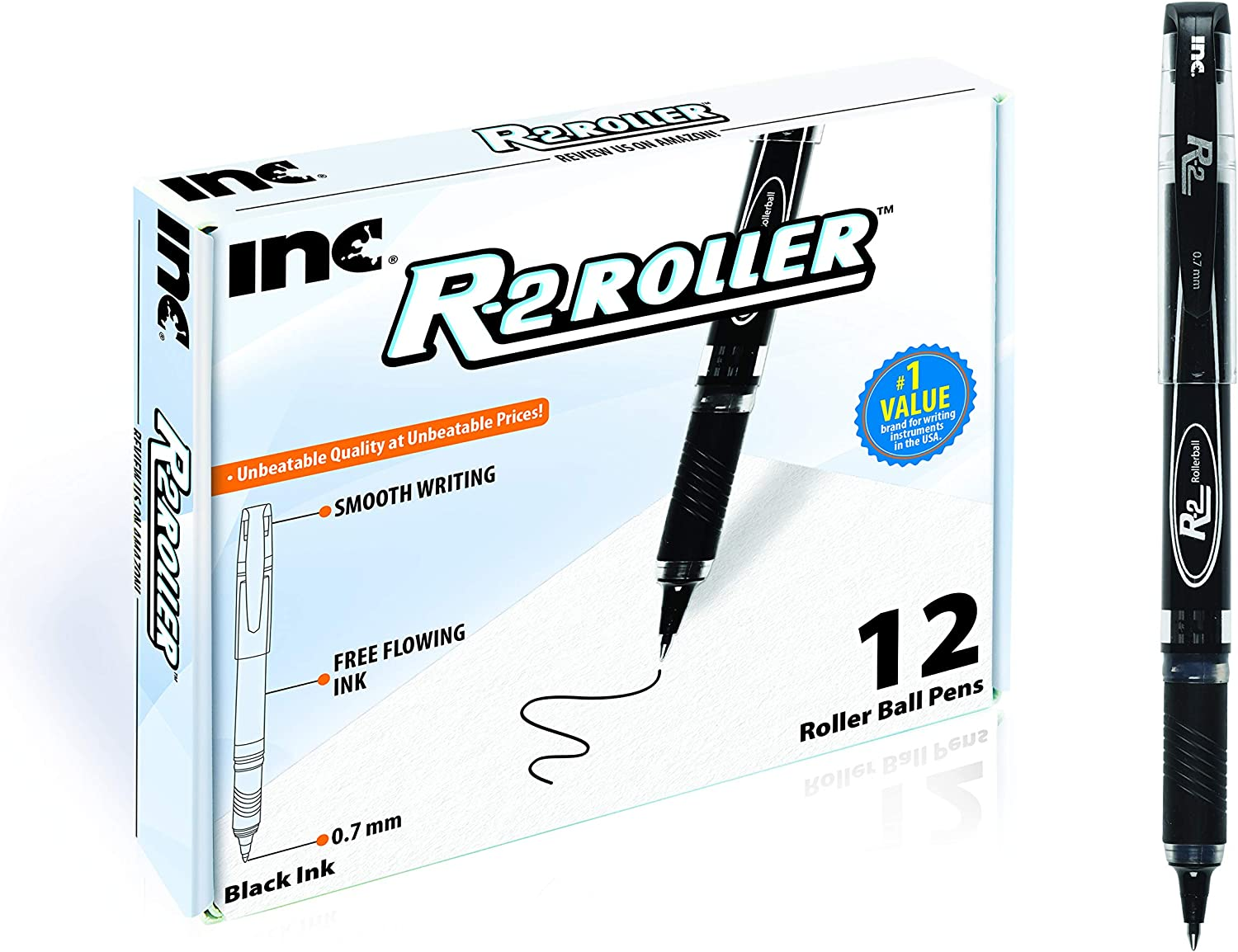 INC R2 ROLLERBALL 0.7 MM Tip Medium Point 12 Count Comfort Grip R-2 Roller ball Pens with Free Flowing Liquid Ink for Smooth Writing, Premium Black Ink Pens for Home, School or Office