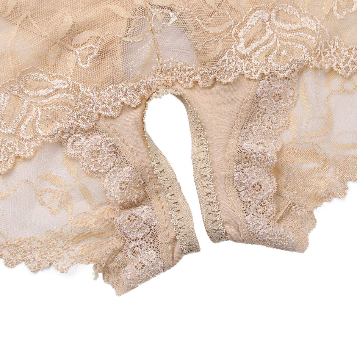 MSemis Sissy Men Lingerie Floral Lace Panties Underwear See Through Open Crotch Mesh Boxer Briefs