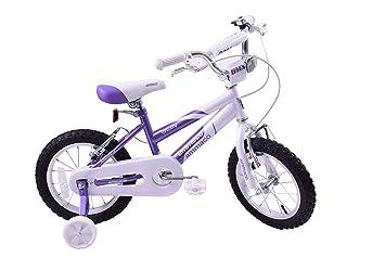 10e51d87403 Ammaco Misty Girls 14 quot  Wheel Kids BMX Bike   Training Stabilisers  Purple White Age