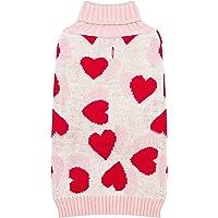 Kyeese Suéter rosa para perro de San Valentín para perros pequeños, patrón de corazón, cuello de tortuga, ropa de punto…