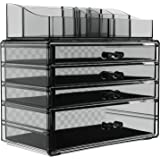 SONGMICS Makeup Organizer 2 Pieces Set Cosmetic Storage Jewelry Display Case with 4 Drawers 8 Top Compartments for Brushes Pallets Powder Foundations Vanity Table, Stackable, Smoky Gray UJMU18T