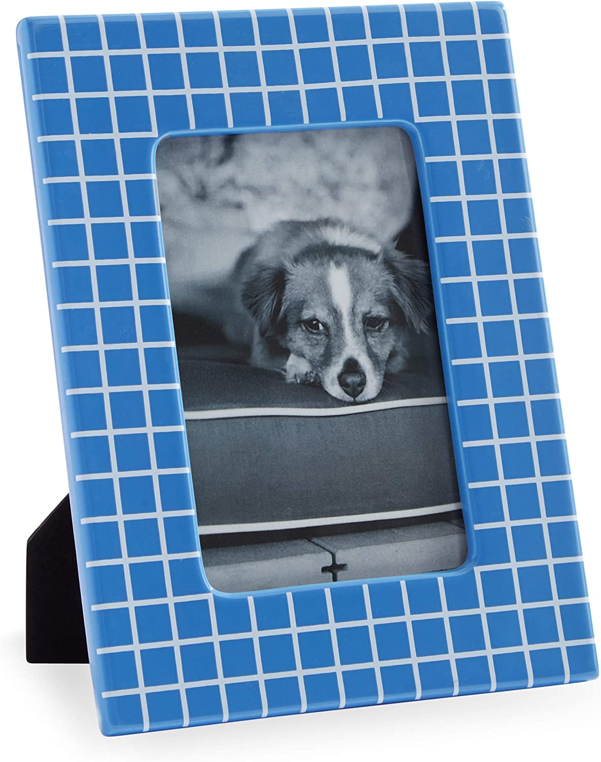 """Now House by Jonathan Adler Grid Frame, 4"""" x 6"""", Blue and White"""