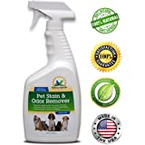 All Natural Professional Strength Pet Stain and Odor Remover | Dog & Cat Urine Destroyer Eliminator | Enzyme Powered Carpet Cleaner Spray | Eco-Friendly Deodorizer | Safe for Kids & Pets