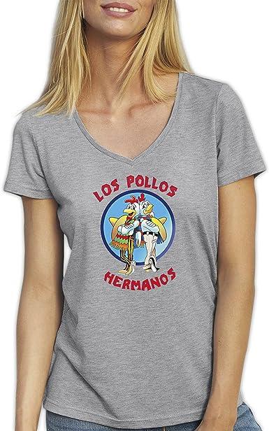 Top Los Pollos Hermanos Breaking Bad Gris T-Shirt Camiseta Cuello V para la Mujer Medium: Amazon.es: Ropa y accesorios