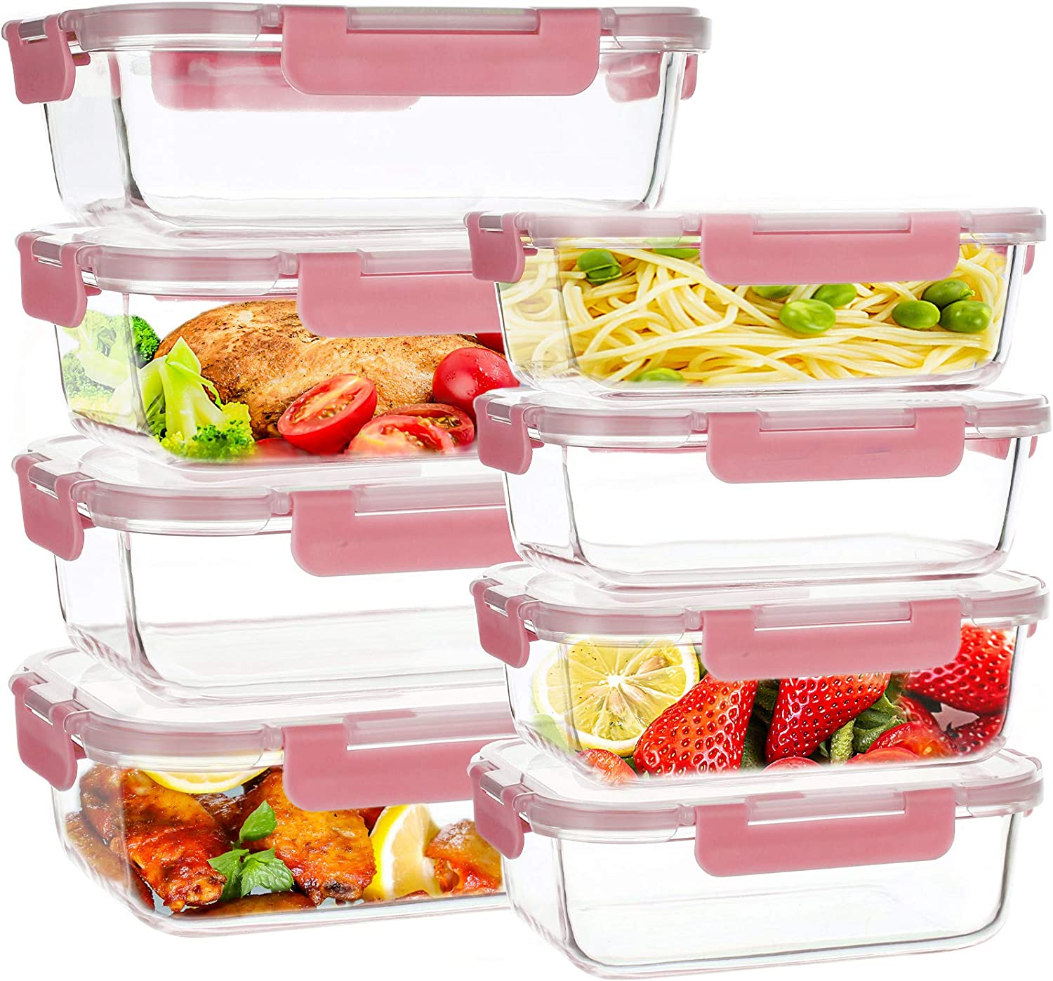 UMIZILI 8 Pack Glass Food Storage Containers with Lids, 2 Size [34oz+12oz] Airtight Meal Prep Containers with Smart Locking Lids, Pink Lunch Bento Boxes for Leftover, 100% Leak-Proof