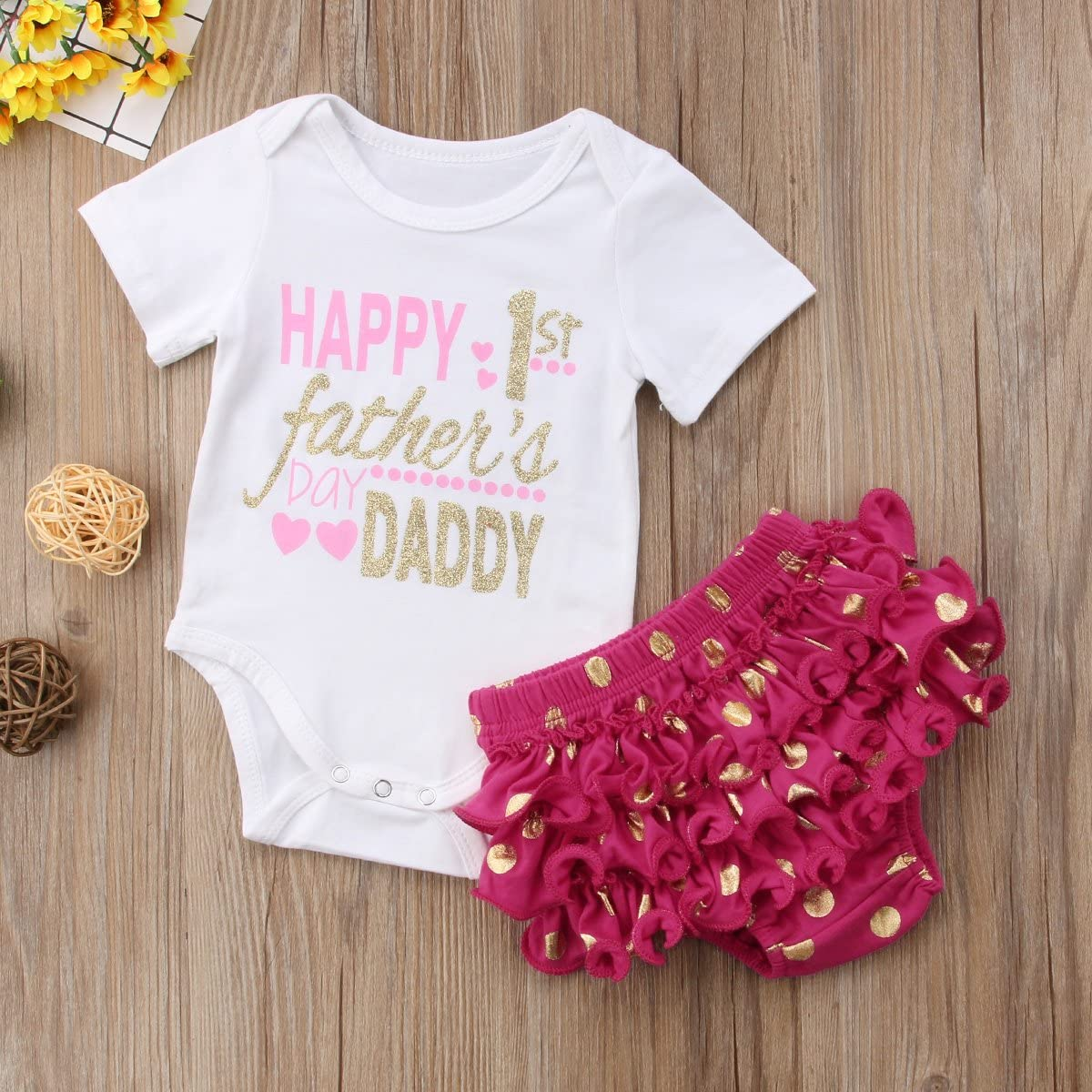 ONES Baby Girls Fathers Day Outfits Short Sleeve Romper /& Polka Dot Ruffle Short