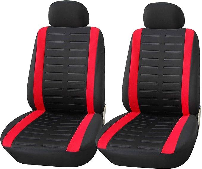 Upgrade4cars Auto Sitzbezüge Vordersitze Schwarz Rot Auto Sitzschoner Set Universal Für Fahrersitz Beifahrer Auto Zubehör Innenraum Auto