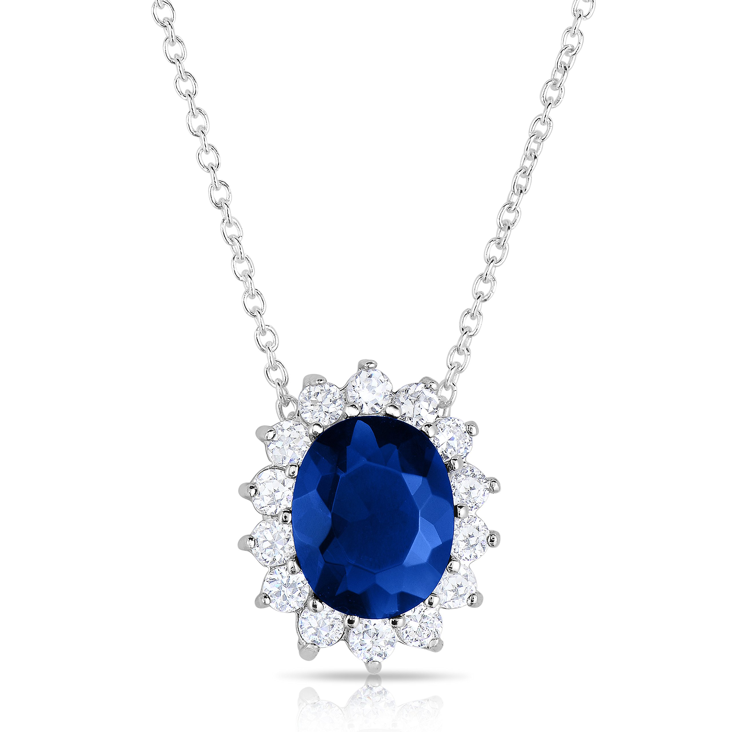 Sterling Silver Kashmir Blue Sapphire CZ And CZ Helo Jacket Princess Diana Pendant and Necklace -18''