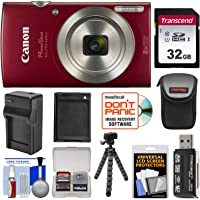 Canon PowerShot Elph 180 Digital Camera (Red) with 32GB Card + Battery & Charger + Case + Flex Tripod + Reader + Kit