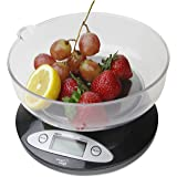 Bilancia digitale da cucina Smart Weigh CSB5KG con ciotola rimovibile 11lbs/5000g x 1g - Nero