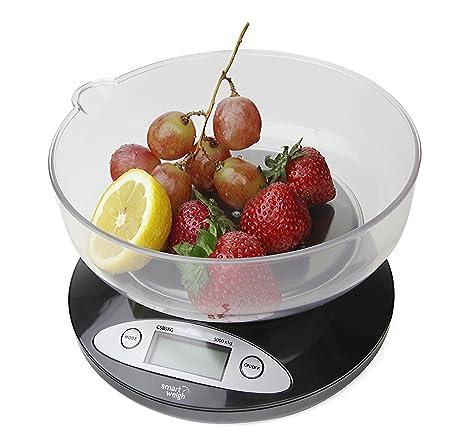 Smart Weigh CBS5KG Báscula Digital para Cocina con tazón removible de 11 lbs/5000g x 1g - Negra