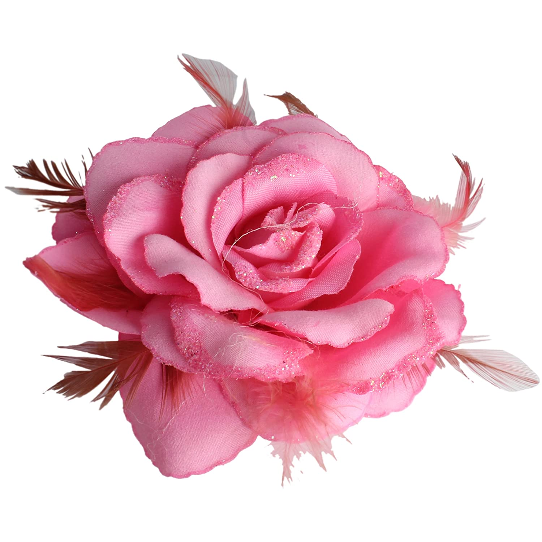 Pale pink rose hair pin