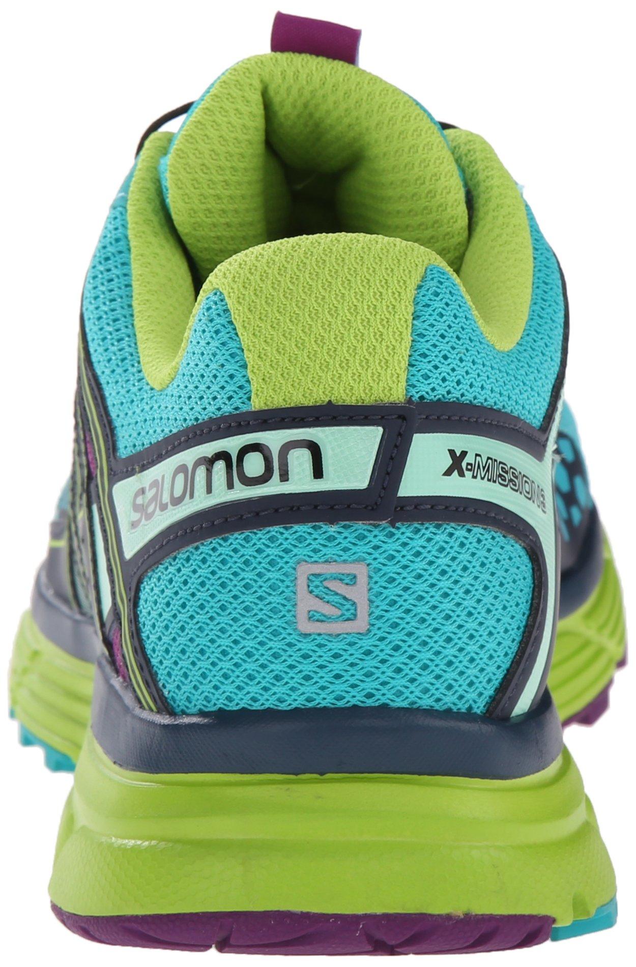 Salomon Women's X-Mission 3 W Trail Running Shoe, Teal Blue/Granny Green/Passion Purple, 7.5 B US by Salomon (Image #2)