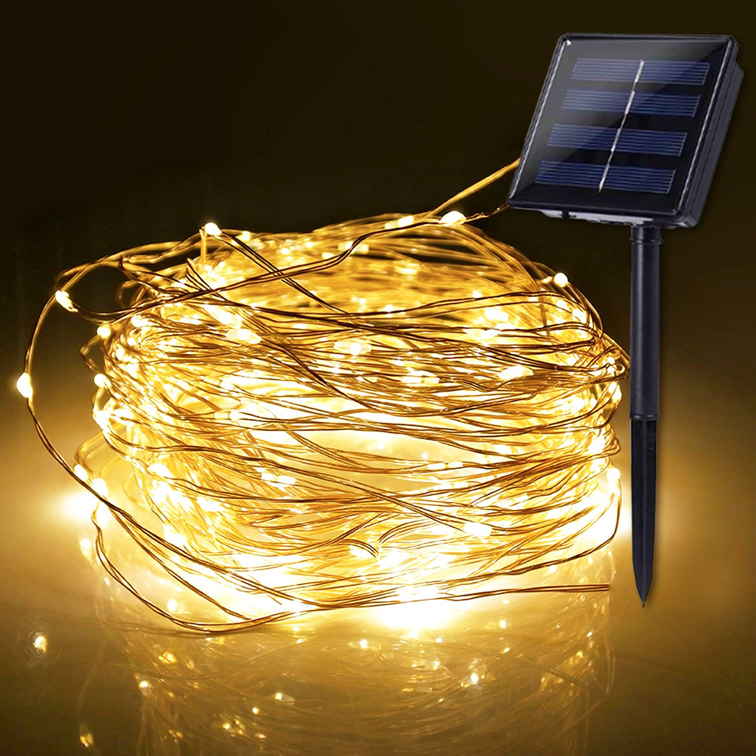 ETHINK 100 LED 32.8ft Indoor, Outdoor 8 Modes Solar Powered Waterproof Fairy String Copper Wire Lights for Christmas, Bedroom, Party, Patio, Wedding, Warm White (100LED)