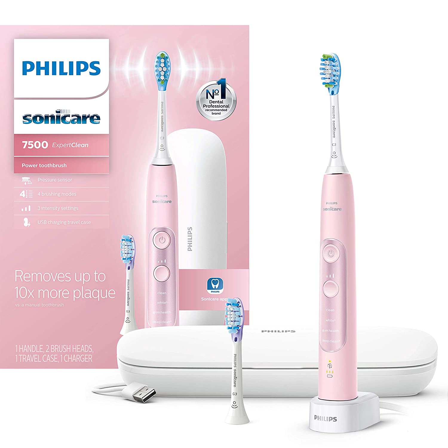 Philips Sonicare ExpertClean 7500 Bluetooth Rechargeable Electric Toothbrush Pink HX9690/07