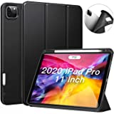 Ztotop Case for New iPad Pro 2020 with Pencil Holder(New Model), Trifold Stand + Lightweight Soft + Auto Wake/Sleep Protective TPU Back Thin Cover, Support 2nd Gen iPad Pencil Charging - Black
