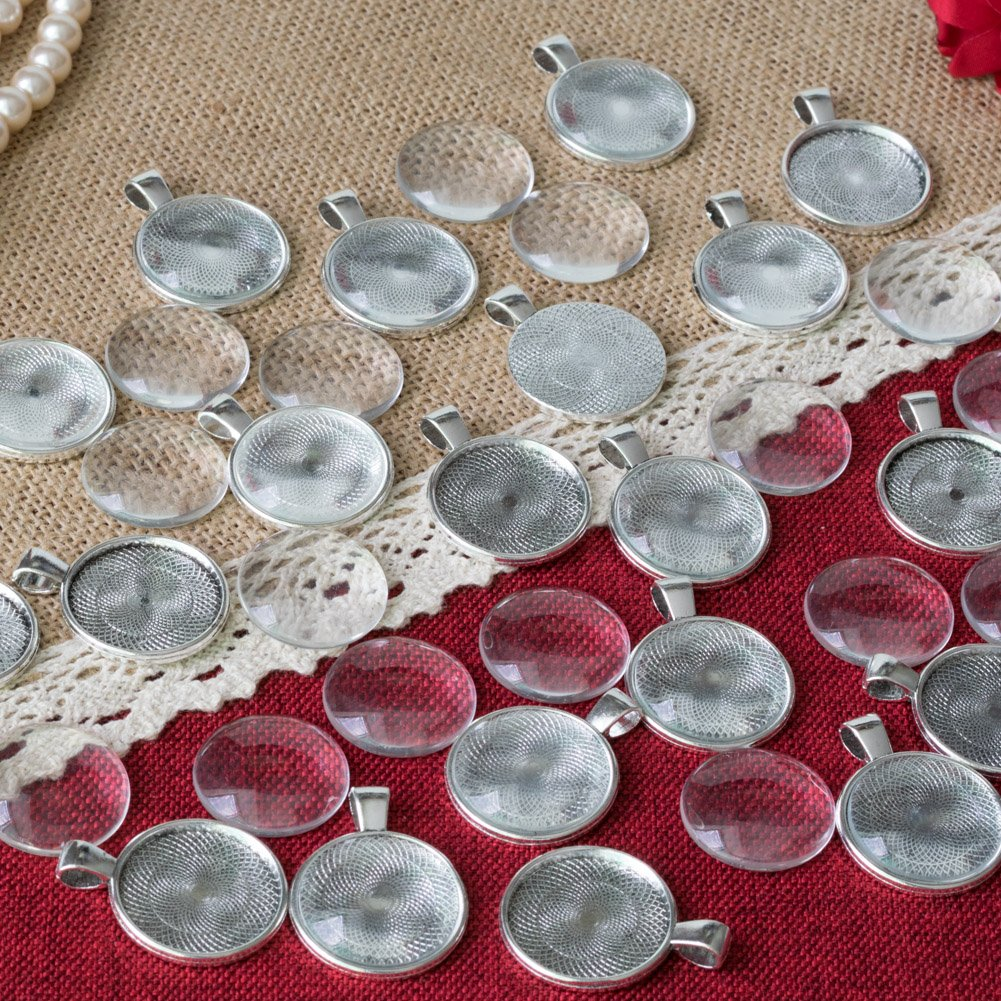 1-Inch 25mm Antique Silver 20 Sets Cabochon Pendant Tray Bezel with Round Circle Clear Glass Dome Tiles for Photo Charm by Njoy