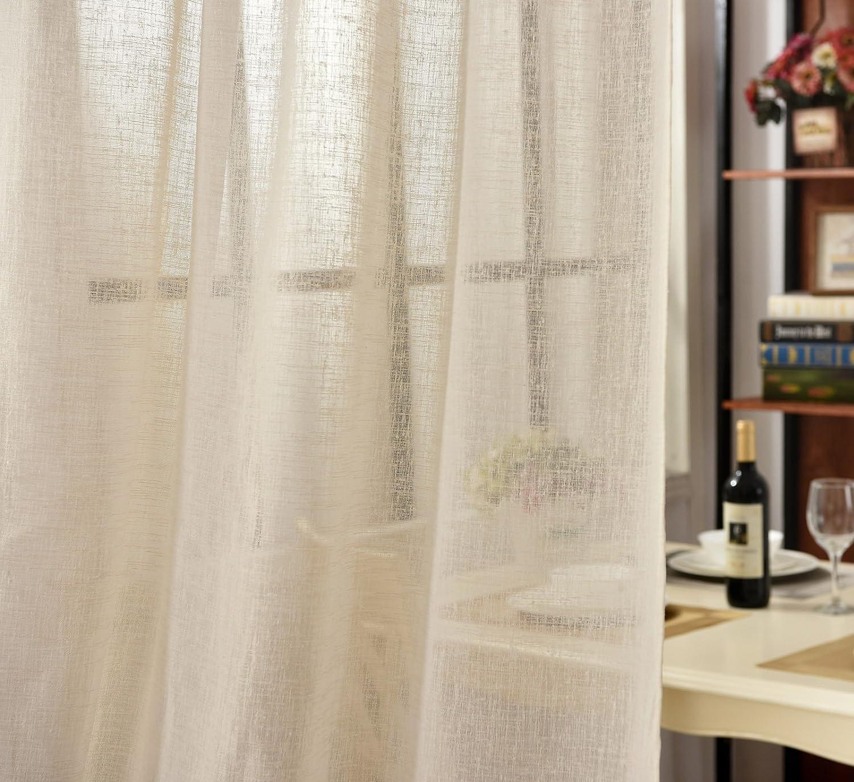 WOLTU/® VH5858ws Rideau Voilage 1 pi/èce d/écoration pour fen/être Suspension /à Pattes 140x175 cm,Blanc