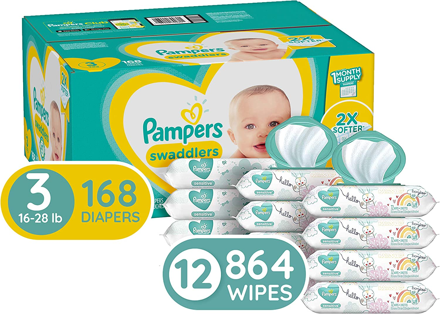 Diapers Size 3, 168 Count and Baby Wipes - Pampers Swaddlers Disposable Baby Diapers, ONE Month Supply with Pampers Sensitive Water Baby Wipes, 12X Pop-Top Packs, 864 Count