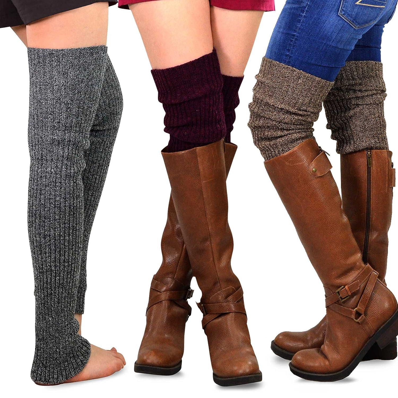 TeeHee Gift Box Women's Fashion Extra Long Thigh High Leg Warmers 3-Pack Soxnet Inc