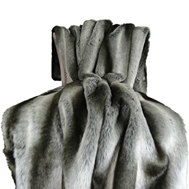 Thomas Collection Exotic Gray Chinchilla Faux Fur Throw Blanket & Bedspread - Gray Silver Chinchilla Fur - Gray Chinchilla Throw Blanket - Gray Silver, Handmade in US, 16430