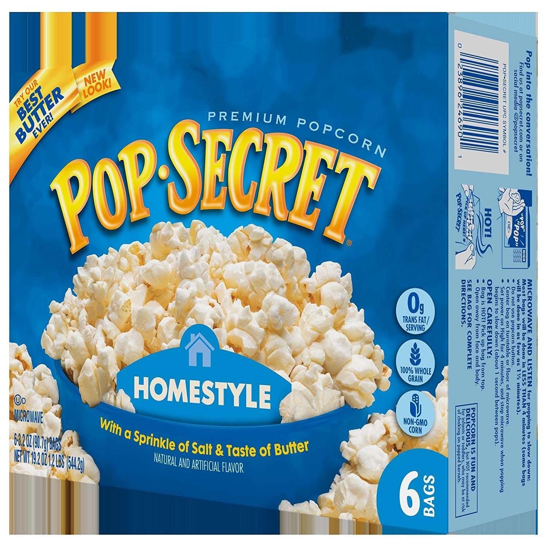 Amazon.com: Pop Secret Microwave Popcorn, Homestyle, 6 Count Box ...