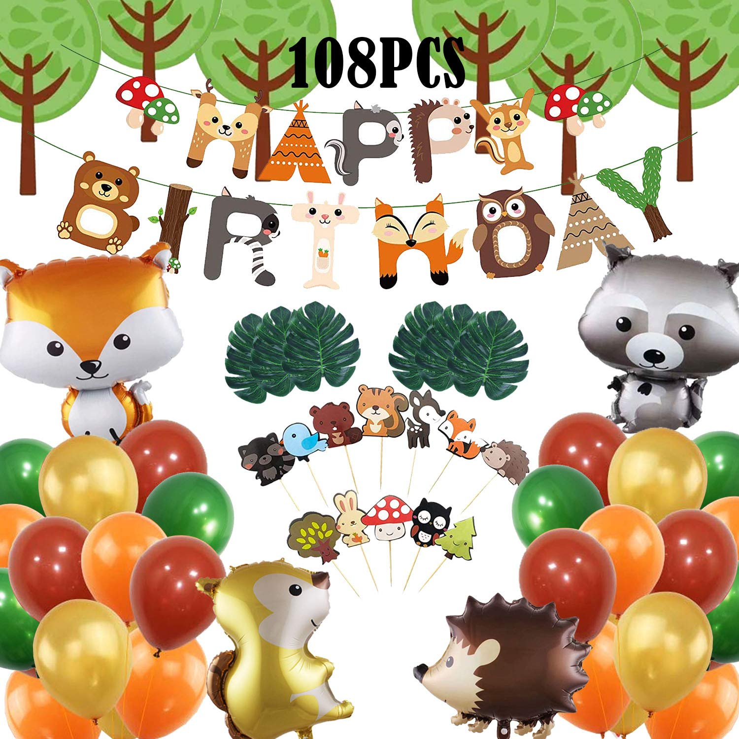 108-Pack Woodland Animals Baby Shower Decorations, Woodland Creatures Balloon,Woodland Party   Supplies Woodland Party Decorations