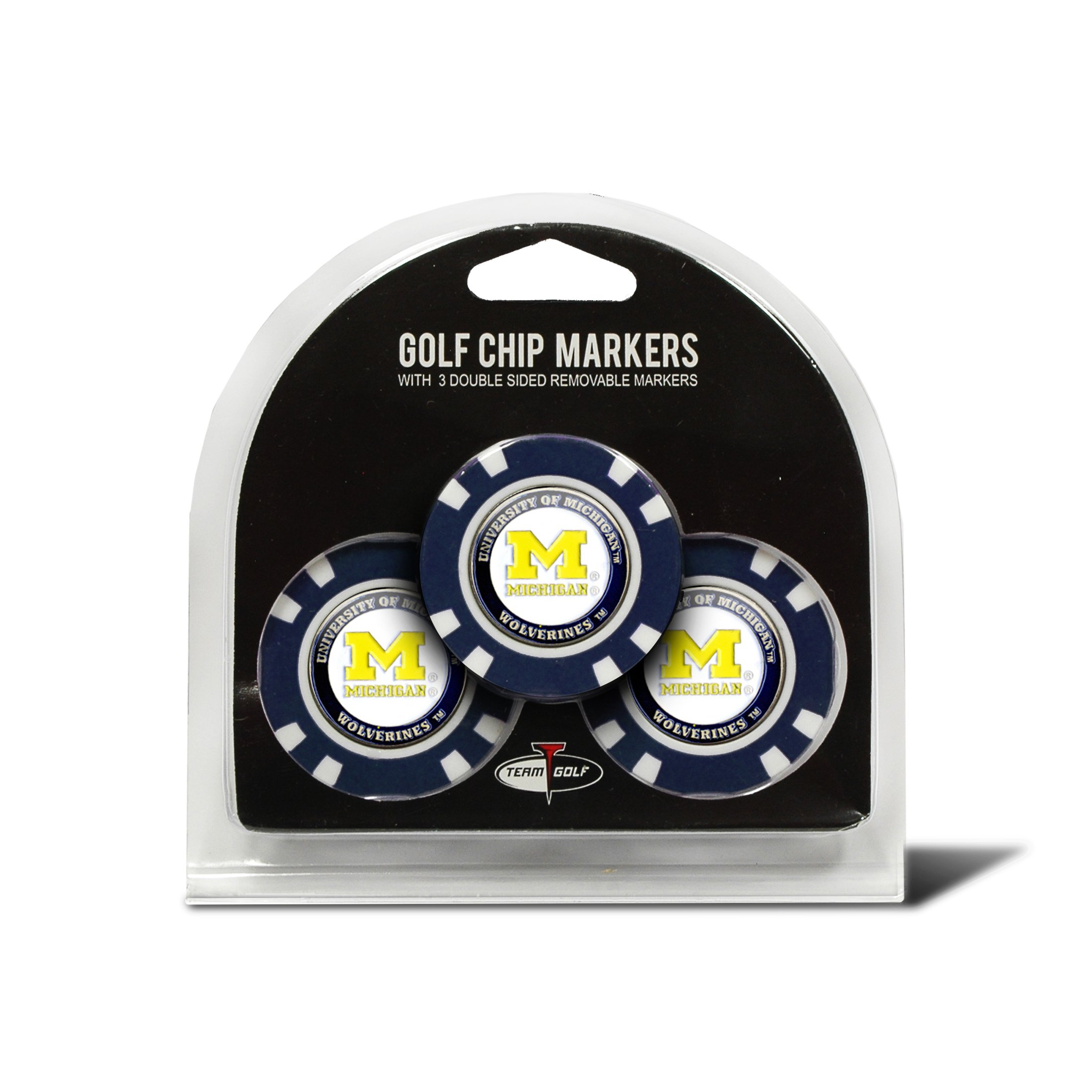 Team Golf NCAA Michigan Wolverines Golf Chip Ball Markers (3 Count), Poker Chip Size with Pop Out Smaller Double-Sided Enamel Markers by Team Golf