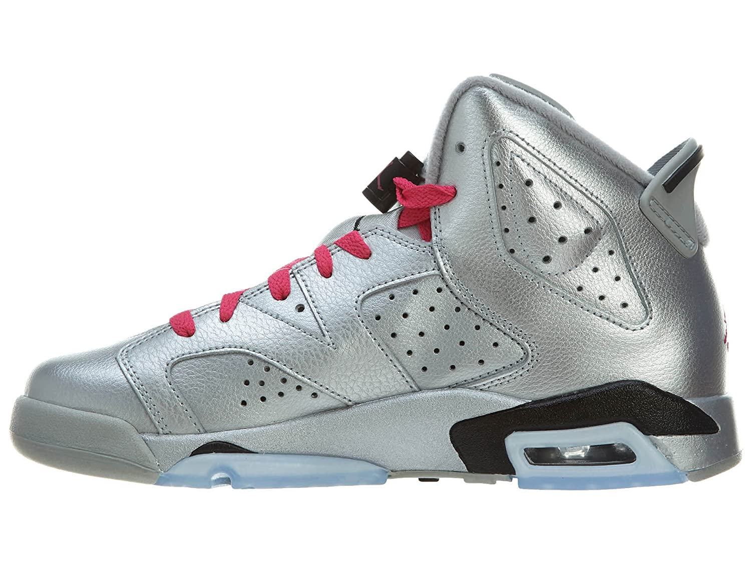b62297581fbb5 Amazon.com: Nike Air Jordan Retro 6 OG Basketball Girl Shoes  Silver/Black/Pink 543390-009 (SIZE: 4Y) : Shoes