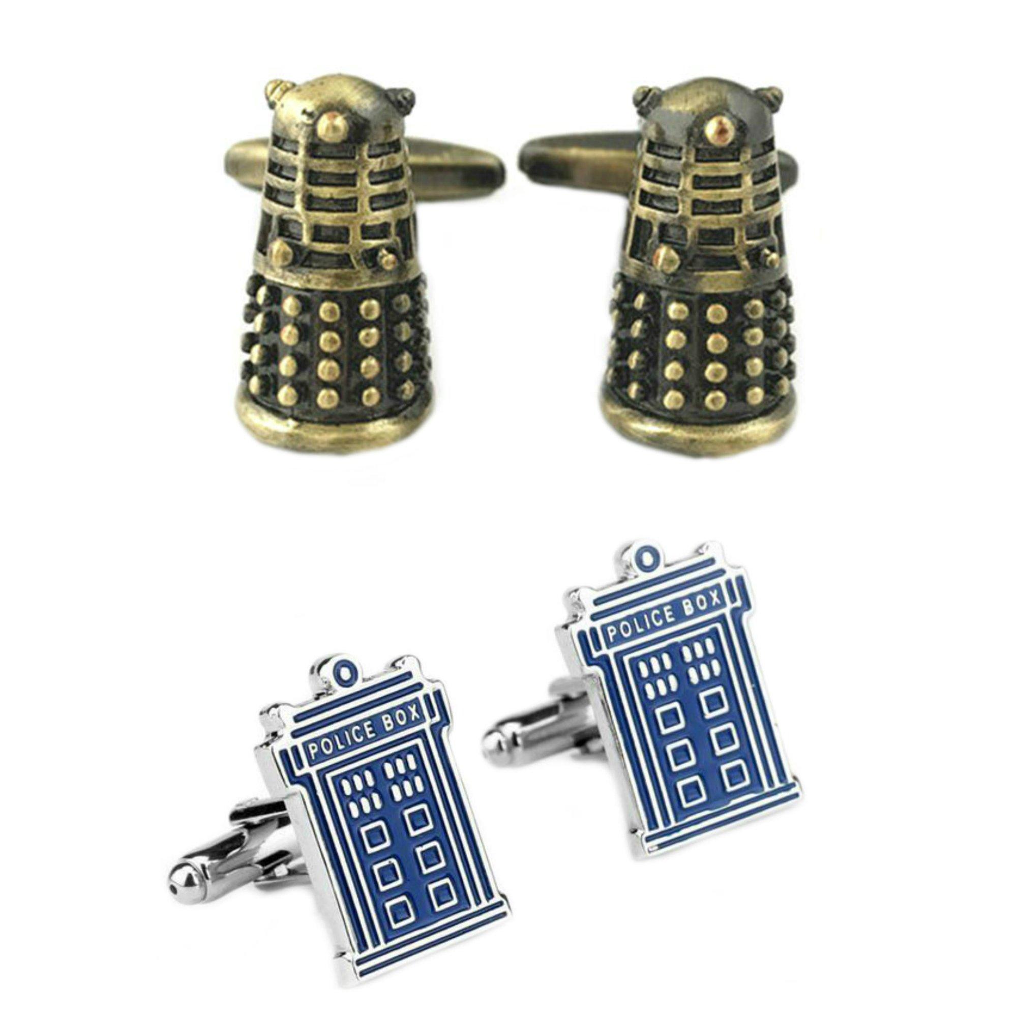 Outlander Gear Doctor Who 2 Pairs Dalek Bronze & TARDIS Superhero 2018 Sci-fi TV Series Wedding Groom Groomsmen Mens Boys Cufflinks