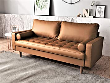 Container Furniture Direct Orion Mid Century Modern PU Leather Upholstered  Living Room Loveseat with Bolster Pillows, 69.68\
