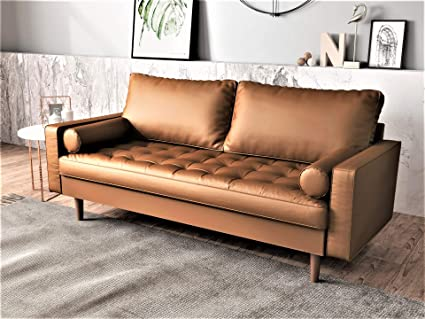 Astounding Container Furniture Direct S5453 S Orion Mid Century Modern Pu Leather Upholstered Living Room Loveseat With Bolster Pillows 69 68 Brown Best Image Libraries Thycampuscom