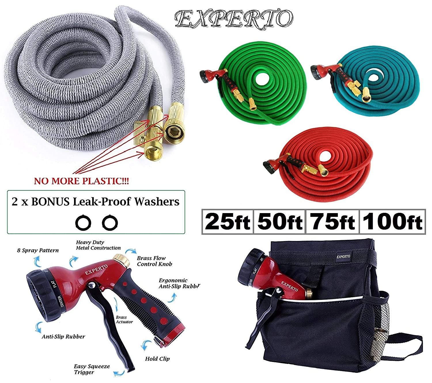 (100ft, Silver) EXPERTO Expandable Garden Hose 3 in 1 KIT 25ft, 50ft, 75ft, 100ft, Silver, Red, Blue, Green - Expanding Hose + Heavy Duty 8 Pattern Metal Watering Nozzle + Hose Storage Bag