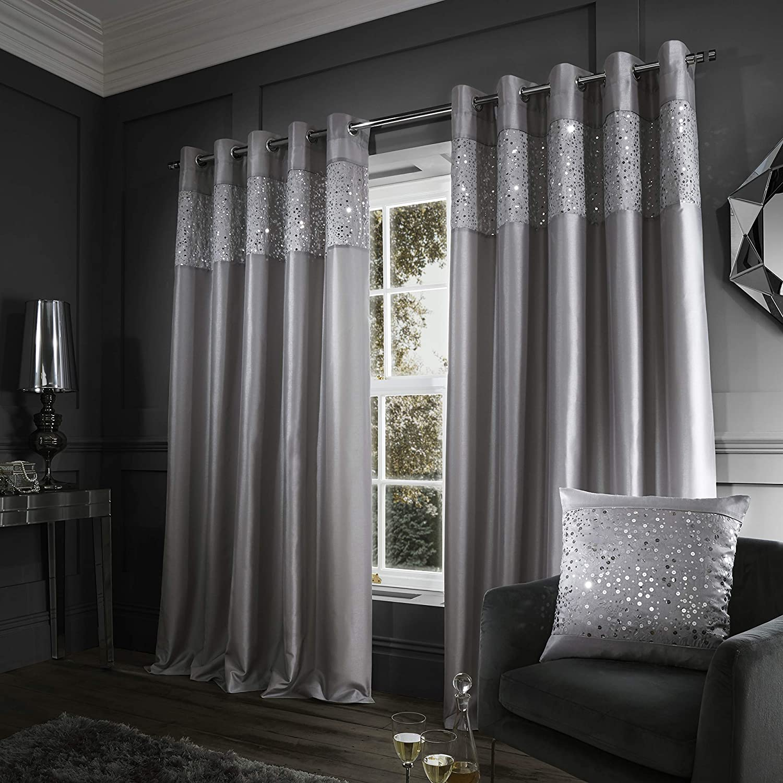 "Catherine Lansfield Glitzy Eyelet 66""x90"" Curtain Grey Eyelet Curtains- 66x90 Inch Grey"
