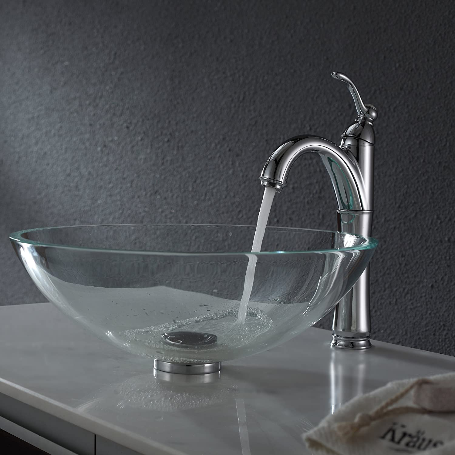 . Kraus GV 100 Crystal Clear Glass Vessel Bathroom Sink     Amazon com