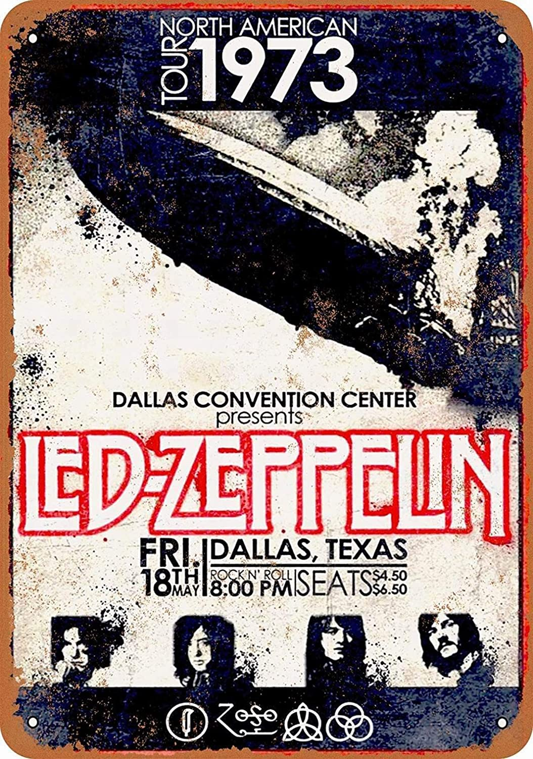 """PAGAIXI Led Zeppelin in Dallas Vintage Metal Sign 8"""" x 12"""" Bar Novelty Home Plaques Poster Wall Decor Tin Signs"""