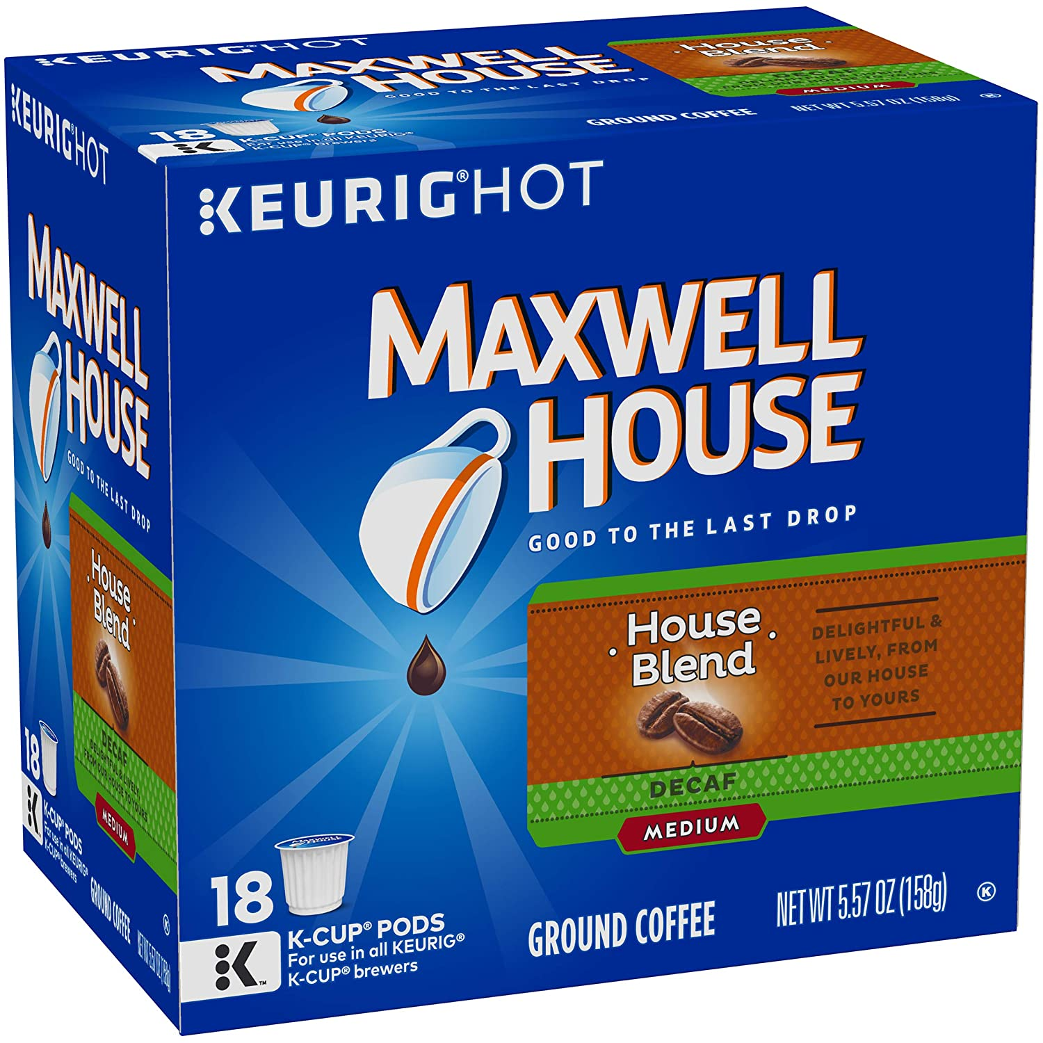 Maxwell House Decaf House Blend Medium Roast K-Cup Coffee Pods (72 Pods, 4 Packs of 18)