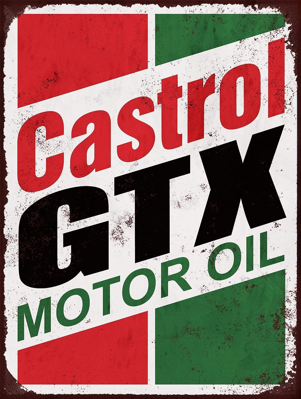 Toll2452 Castrol Motor Oil GTX Retro Vintage Metal Cartel en Aluminio Cepillado a Todo Color