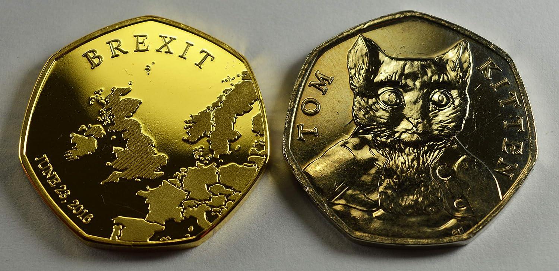 1 Paar Silber- und 24 Karat Gold The Commemorative Coin Company Brexit Gedenkm/ünzenalben f/ür 50 M/ünzensammler