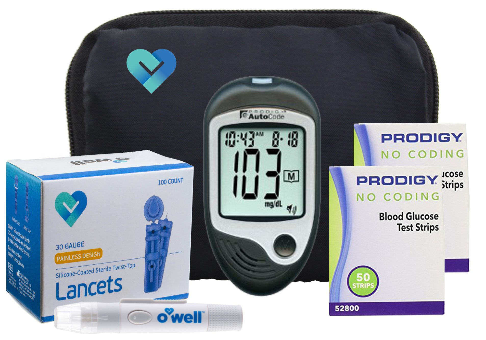Prodigy Auto Code Diabetes Testing Kit, 100 Count | Prodigy TALKING Meter, 100 Prodigy Auto Code Test Strips, 100 Lancets, Lancing Device, Manuals, Log Book & Carry Case