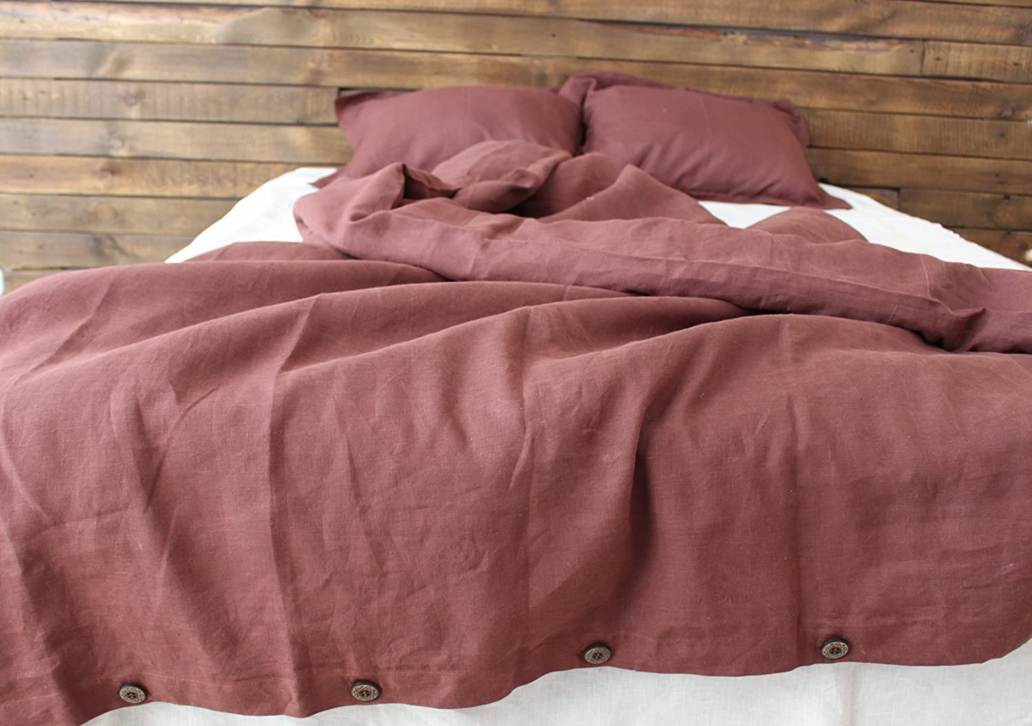 Image of Home and Kitchen Chocolate brown 100% linen duvet cover, queen, king or double size, with 2 pillow shams