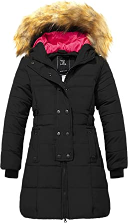 OCHENTA Girls Winter Coats Thick Padded Mid Long School Jacket Parka with Fur Hood